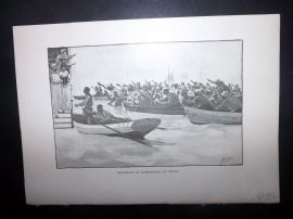 Paton & Burns 1890 Print. Bum-Boats at Basseterre, St. Kitts. West Indies